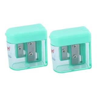 Unique Bargains Double Holes Hinged Cover Pencil Sharpener 2 Pieces