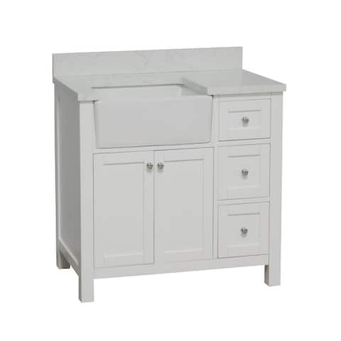 """KitchenBathCollection Yorkshire 36"""" Farmhouse Bathroom Vanity with Engineered Marble Top"""