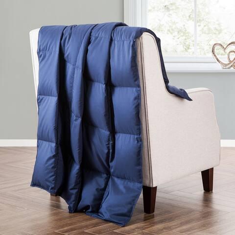 Ultra Lightweight Navy Blue Down Filled Throw Blanket