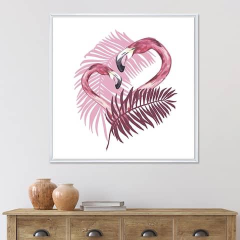 Designart 'Flamingo In Tropical Summer I' Traditional Framed Canvas Wall Art Print