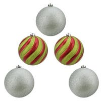 "5ct Shiny Red  Green and Silver Glitter Shatterproof Ball Christmas Ornaments 6"" (150mm)"