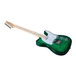 Monoprice Indio Retro DLX Flamed Top Electric Guitar with Gig Bag Trans Green