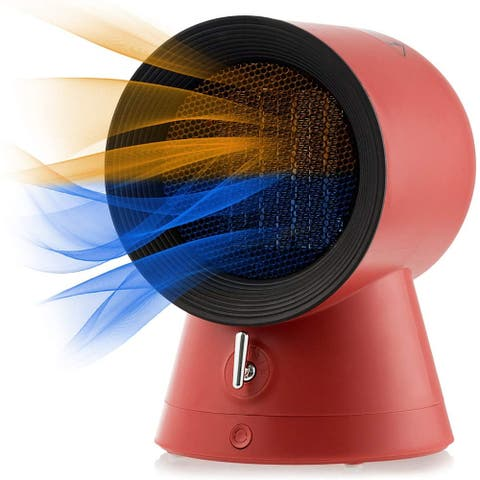 Costway 1500W Portable Space Heater Electric Desktop Heating Fan Ptc Ceramic Redwhite