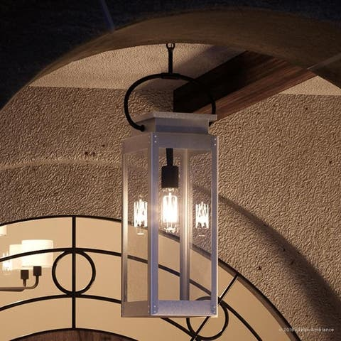 "Luxury Modern Farmhouse Outdoor Pendant Light, 27.375""H x 7""W, with Nautical Style, Stainless Steel Finish by Urban Ambiance"