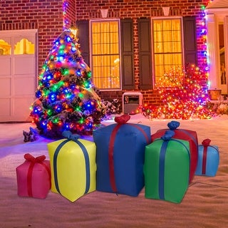 Link to Kinbor 6 Ft Long Lighted Christmas Inflatable Gift Boxes, Xmas Blow Up Indoor Outdoor Holiday Decoration, Built-in LED Lights Similar Items in Christmas Decorations