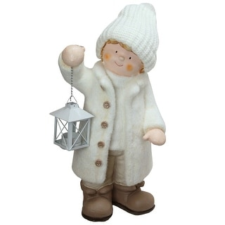 """18"""" White and Brown Winter Boy Holding a Tealight Lantern Christmas Table Top Figure"""