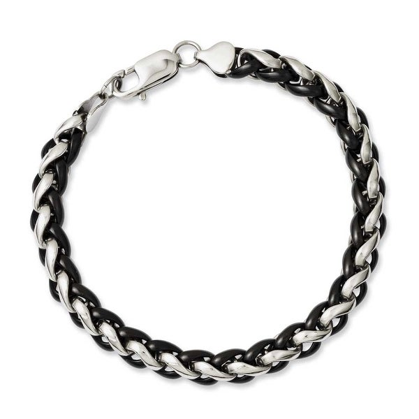 Chisel Stainless Steel Polished & Black IP-plated 8.25in Bracelet