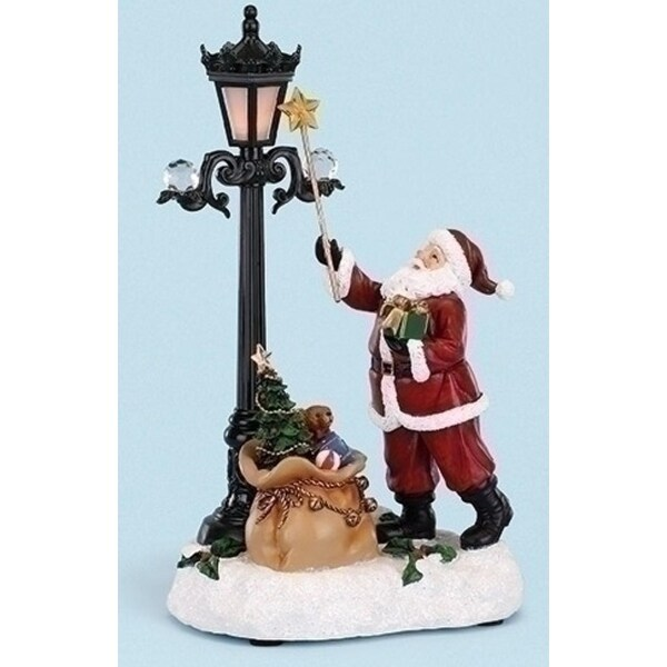 "12"" LED Lighted Musical Christmas Santa Claus Lighting a Lamp Figurine"