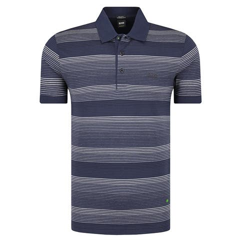 Hugo Boss Mens Paddy Pro 3 Blue Striped Cotton Polo