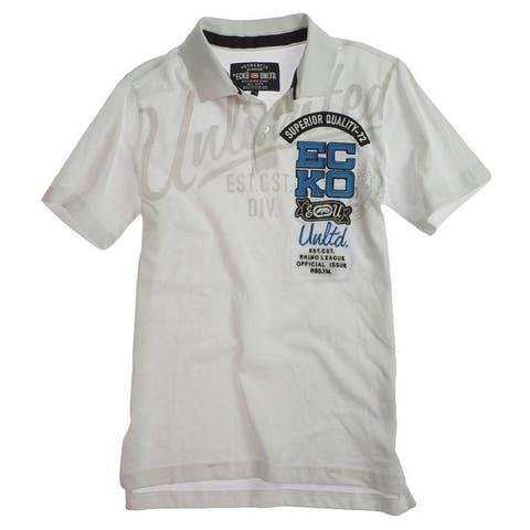 Ecko Unltd. Mens Ss Script Numeric Block Rugby Polo Shirt