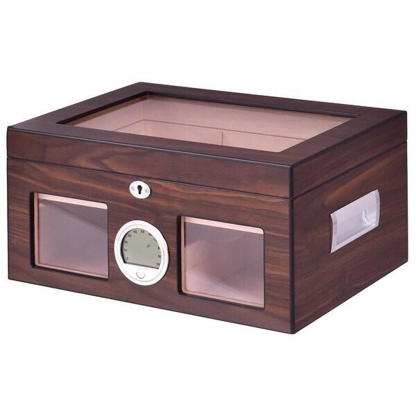 Costway 50-100 Cigar Humidor Storage Box Desktop Glasstop Humidifier Hygrometer Lockable