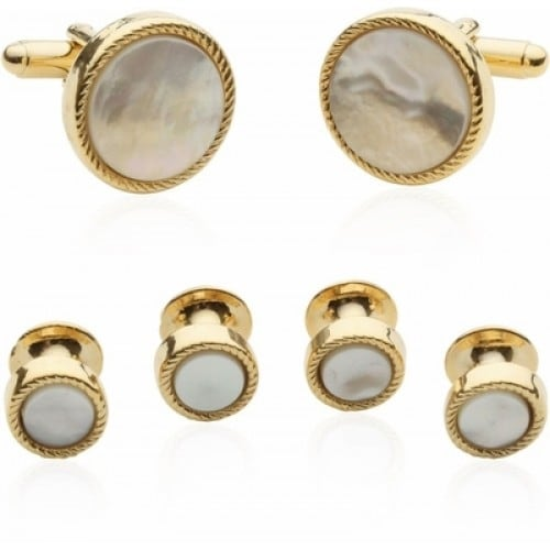 Ribbed Mother Of Pearl Gold Tuxedo Cufflinks and Studs