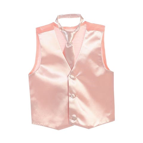Boys Blush Three Button Satin Vest Tie 2 Pc Set