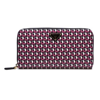 Prada Women's Zip Around Long Saffiano Leather Wallet Begonia Red - M