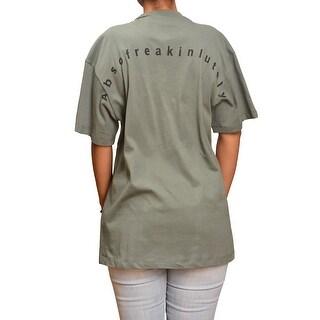 Ontwelfth Women's Olive Asymmetric Split Detail Short Sleeved Trendy Top