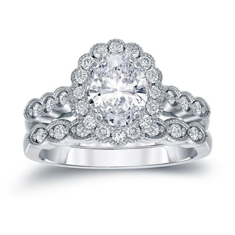 Auriya 14k Gold 2 1/10ctw Vintage Oval Halo Diamond Engagement Ring Set Certified