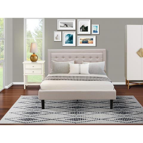 Fannin Queen Bedroom Set with Queen Bedframe and a Small End Table - Mist Beige Linen Fabric - ( End Table Piece Option )
