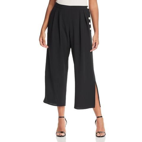 Vince Camuto Womens Plus Culottes Button Detail Cropped - Rich Black