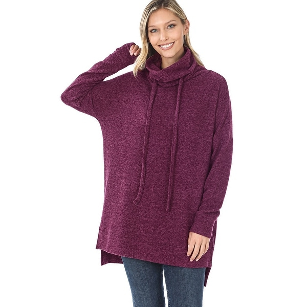 JED Women's Funnel Neck Melange Sweater Tunic Top. Opens flyout.