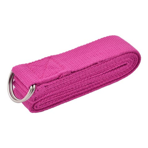 Cotton Blends D Shape Loop Stretching Exercise Yoga Strap Band Fuchsia 2.5M Length