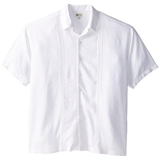 Haggar Mens Big & Tall Linen Blend Pleated Button-Down Shirt - xlt