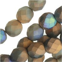 Czech Fire Polished Beads, Faceted Round 8mm, 20 Pieces, Satin Matte Bronze