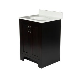 "Design House 612473 25"" Freestanding Vanity Cabinet with Marble Vanity Top - Espresso"
