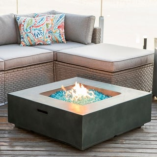 COSIEST Outdoor  Square Propane Fire Pit Tank Outside