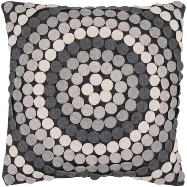 "18"" Gray Toned Applique Mandala Decorative Down Throw Pillow"