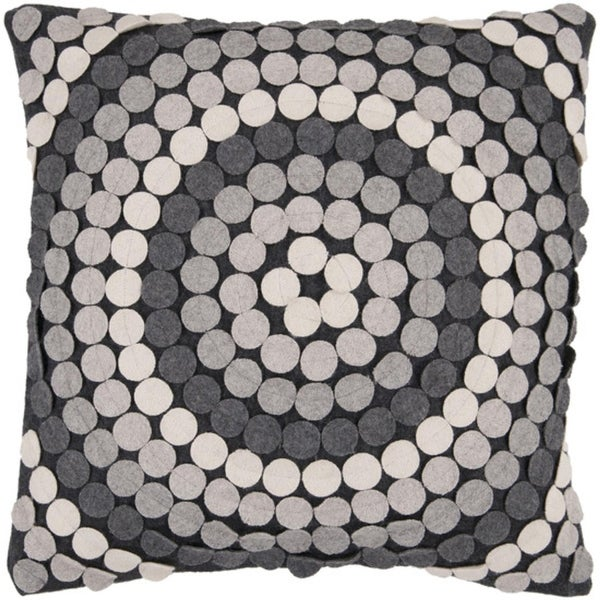 "22"" Gray Toned Applique Mandala Decorative Down Throw Pillow"