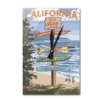 Big Bear Lake CA Destination Sign - LP Artwork (Acrylic Wall Clock) - acrylic wall clock