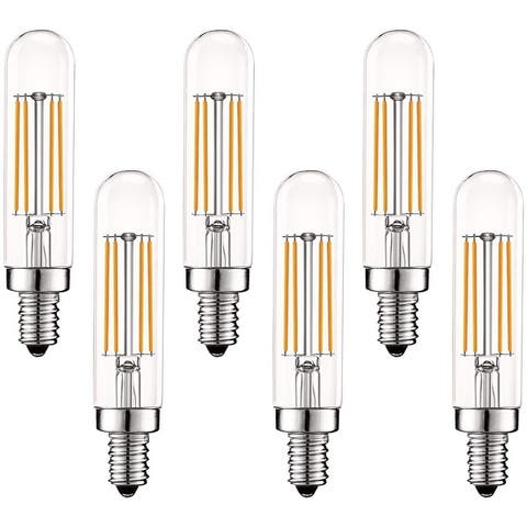 Luxrite Vintage E12 LED Bulb 60W Equivalent, T6 T6.5, 2700K Warm White, 500 Lumens, Dimmable LED Tube Bulbs (6 Pack)