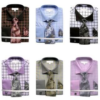 Men's Grid Checkered Pattern Dress Shirt French Cuffs Tie Hanky Cufflinks