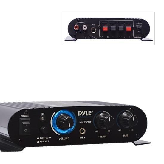 Bluetooth Mini Blue Compact Amplifier, Aux (3.5mm) Input, Push-Type Speaker Terminals, 90 Watt Amp