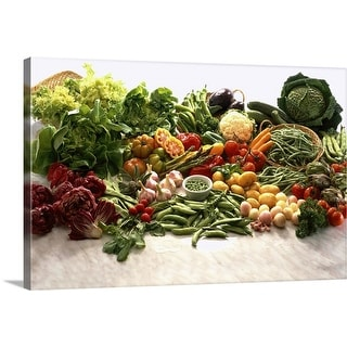 """""""Close-up of an array of fresh vegetables and fruit"""" Canvas Wall Art"""