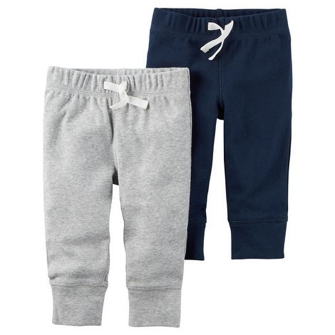 Carter's Baby Boys' 2-Pack Pants- Blue/Grey - gray