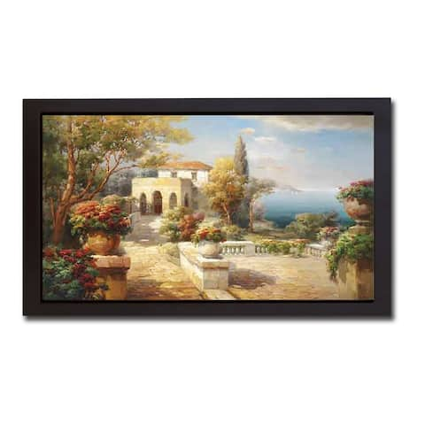 Tuscan Path by Roberto Lombardi Black Floater-Framed Canvas Giclee Art (20 in x 38 in Framed Size)