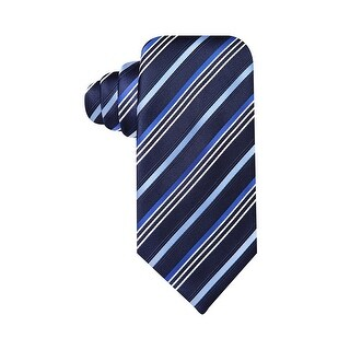 Geoffrey Beene Hand Made Satin Stripe Classic Tie Navy Blue and White