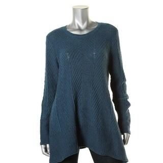 Jeanne Pierre Womens Crew-Neck Herringbone Tunic Sweater - L