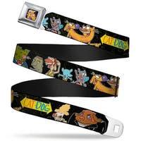 Dog & Cat Pose Full Color Catdog Group Pose Black Multi Color Webbing Seatbelt Belt
