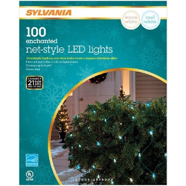 Sylvania V42095-71 Christmas LED Icicle Lights, White Wire