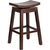 30 Inch High Saddle Seat Wood Barstool With Auto Swivel
