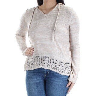 Womens Beige Long Sleeve V Neck Casual Sweater Size L