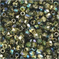 True2 Czech Fire Polished Glass, Faceted Round 2mm, 50 Pieces, Olive Gold Rainbow