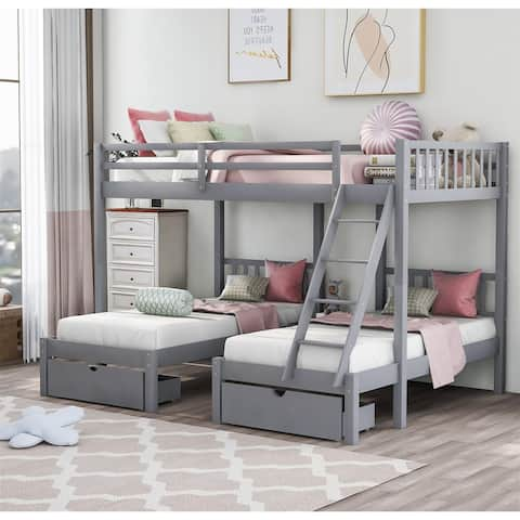 Merax Full Over Twin & Twin Wood Triple Bunk Bed with Drawers