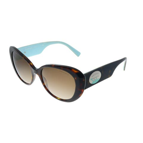 Tiffany & Co. TF 4153 80153B Womens Havana on Tiffany Blue Frame Brown Gradient Lens Sunglasses
