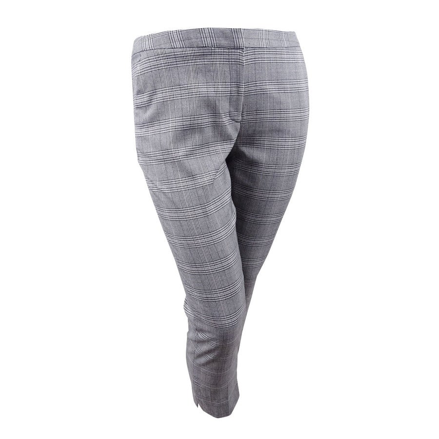 Calvin Klein Womens Plus Size Plaid Straight-Leg Ankle Pants - Grey - 24W