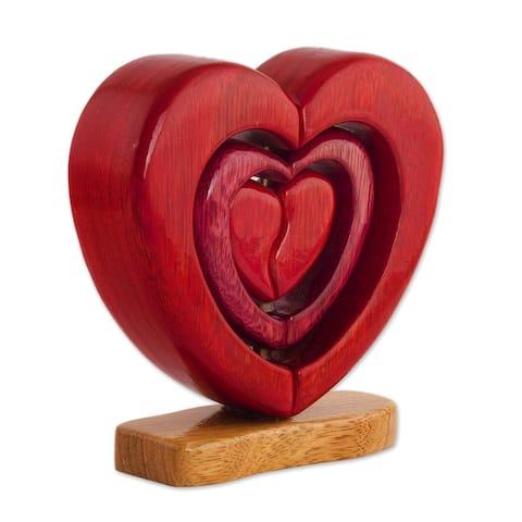 "Handmade Heart Trio Wood Sculpture (Peru) - 6.5"" H x 6.75"" W x 2"" D"