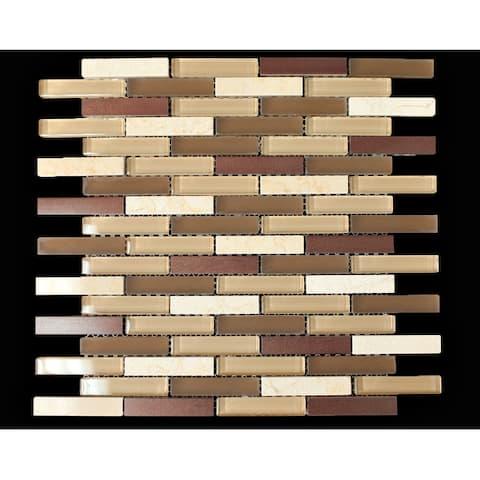 "TileGen. 1/2"" x 3"" Mixed Material Tile in Beige/Brown Wall Tile (10 sheets/9.5sqft.)"