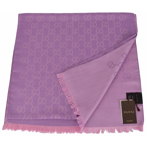 "Gucci 165904 Women's Violet and Lilac Wool Silk GG Guccissima Scarf - 70"" x 18"""